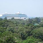 Our ship as viewed from a hilltop on Roatan